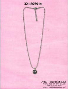 Cut Ballchain Small Peace Sign Necklace
