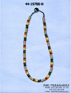 Rainbow Disk & Wrapped Tubes Necklace