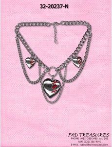 Silver Multi Link Mended Hearts Chain Choker