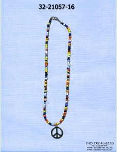 Rainbow Seed Bead & Peace Sign Necklace