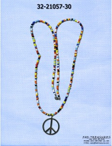 Long Rainbow Seed Bead & Peace Sign Necklace