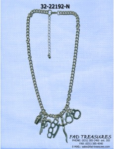 Antique Silver Chain Weapon Charms Necklace