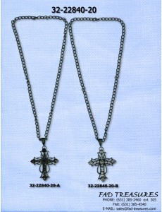 Black Chain With Asstored Rhinestone Gothic Cross Necklace
