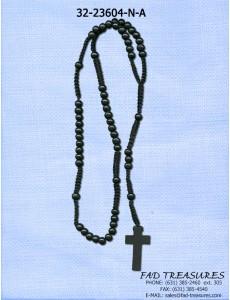 Rosary Black Wood Balls With Woven Necklace