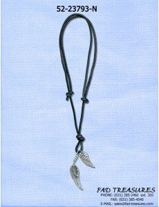 Black Leather 2 Wing Charms Necklae