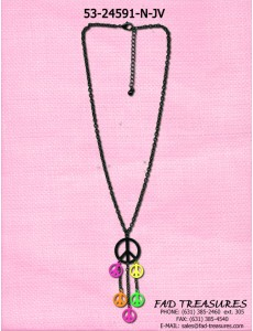 Black Chain & Neon Color Peace Signs Necklace