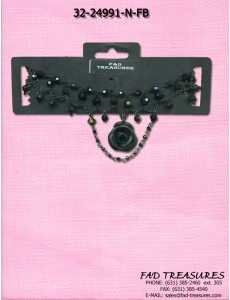 Black Facet Beads & Rose Choker