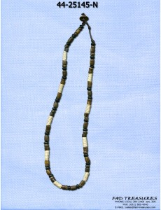 Brown & Black Wood Beads & Rope Necklace