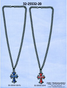 Assorted Curb Chain With Double Cross Necklace