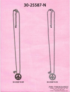Peace Sign With Stones & Tiny Peace Sign Necklace