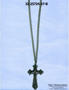 Burnish Silver Chain With Black Stone Cross Necklace