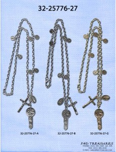Religious Multi Charms Oval Chain Necklace