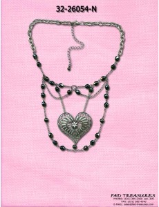 Oval Chain Facet Beads & Heart Choker