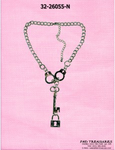 Silver Choker Curb Handcuff Holding Dangle Key/Lock Necklace