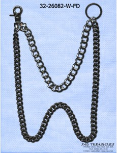 2 Double Cut Curb Matte Black & Dark Burnish Silver Wallet Chain