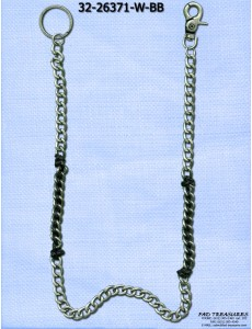 Burnish Silver With Black Cord Through It Cut Curb Wallet Chain