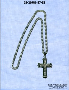 Silver Cut Curb Large Cross With Clear Stones Necklace