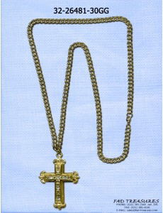 Gold Cut Curb Cross With Stones Necklace