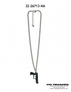 Antique Silver Curb Chain With Gun Pendant Necklace