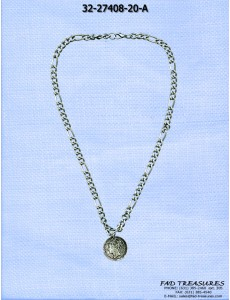 Burnish Silver Chain With Antique Coin Necklace