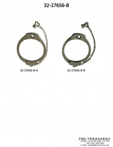 Silver Handcuff With Small Chain Key Bracelet