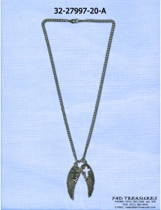 Antique Silver Wings With Cross And Cut Out Necklace