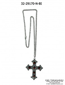 Burnish Silver Chain Large Cross With Garnet Stones Necklace