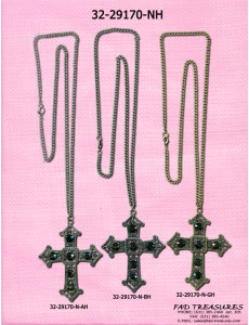 Assorted Curb Chain With Tribal Stone Cross Necklace