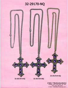 Assorted Curb Chain With Large Tribal Antique Cross Necklace