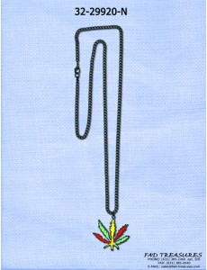 Rasta Pot Leaf Chain Necklace