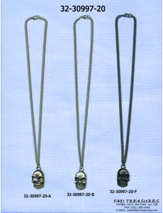 Assorted Chain With Skull Scrached Head Necklace