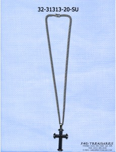 Silver & Blue 3 Layer Cross Necklace