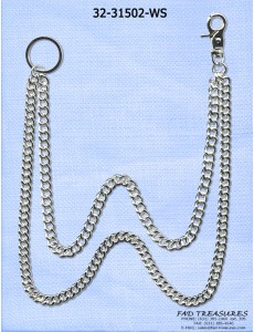 2 Silver Chains Wallet Chain