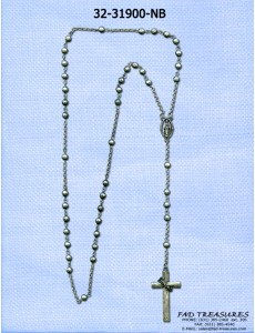 Metal Rosary With Cross & Crown Of Thorns Necklace