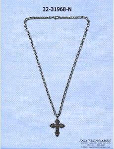 Burnish Silver Chain With Clear Stone Cross Necklace