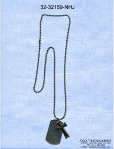 3 Layer Cross Dogtag Ballchain Necklace