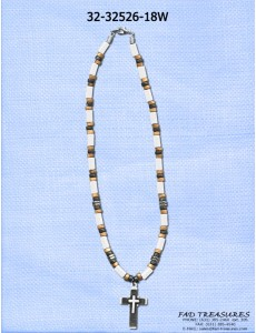 Beads Discs Tubes Layered Cross Necklace