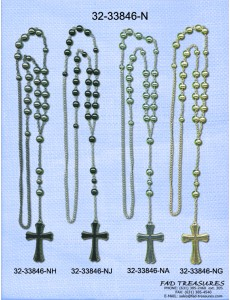 Double Layer Cross Textured Edge Rosary Necklace
