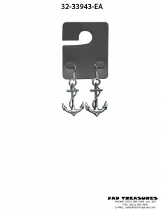 Large Antique Rhodium Anchor Earring