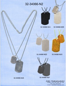 Assorted Ballchain With Large/Small Dogtags Necklace