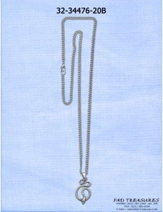 Burnish Silver Chain With Snake Pendant Necklace