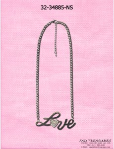 "Silver Chain ""Love"" Heart With Clear Stones Necklace"