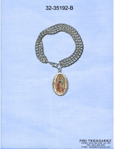 Silver Double Chain With Virgin Mary Charm Bracelet