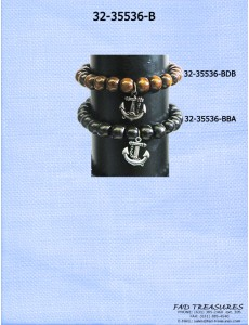 Black Elastic Wood Beads With Antique Silver Anchor Bracelet