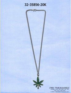 Chain Green Potleaf Necklace