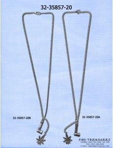 Burnish Silver With Pipe And Potleaf Necklace