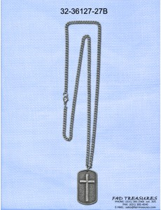 Chain With Dog Tag Cross Burnish Silver Necklace