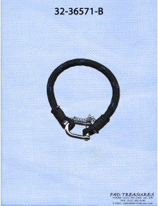 Black With Blue Cord With Silver U Clasp Bracelet