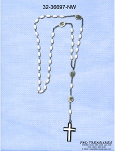 Rosary Saint White Cross Necklace