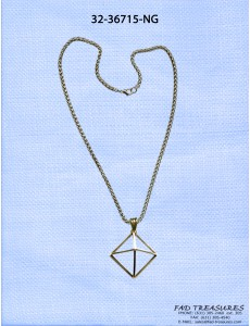 Antique Gold Rope Chain And Pyramid Necklace